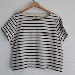 'Staycation' Embroidered Striped Cropped Top